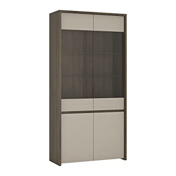 Furniture To Go Aspen 4 Door Tall Glazed Display Cabinet Inc Led