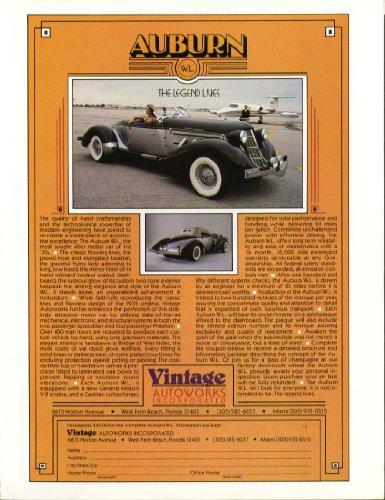 Auburn The Legend Lives Vintage Auto Works ad 1980 (Vintage Ad Auto)