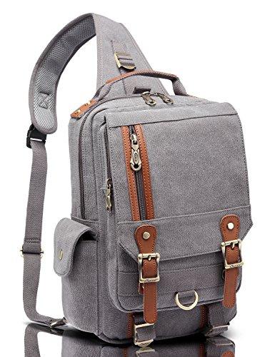 KAUKKO paquete de pecho bolsa de lona mochila para los hombres Caqui Gris