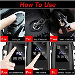 Digital Tyre Inflator Winzwon Air Compressor Tyre Pump 12V DC 150PSI Rapid Car Tyre Inflator Touch Screen Air Pump with… Tools and Equipment bike