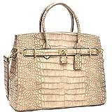 MMK Collection Fall~Winter Women Handbag Fashion Satchel for Women (02-1006)~Croco Padlock Handbag~Designer Women Purse/Handbag~Gifts for Women (02-1006 Stone)