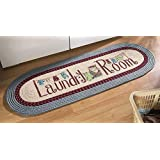 """Collections Etc 20""""x48"""" Braided Laundry Room Floor Runner Rug, Blue"""