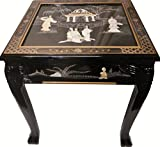Dragon Leg Oriental End Table Inlaid Pearl in Black Lacquer