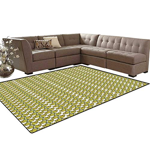 - Yellow and Green Anti-Skid Area Rugs Composition of Tulips with Coming of Spring Hand Drawn Petals Customize Door mats for Home Mat 6'x8' Fern Green and Yellow