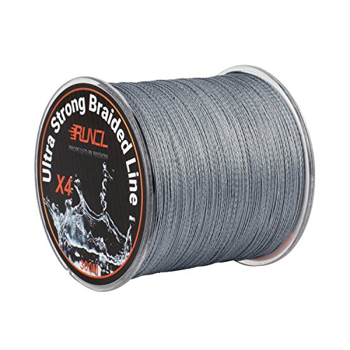 RUNCL Braided Fishing Line with 4 Strands, Ultra Strong Braided Line Zero Stretch Smaller Diameter 328Yds/300M for Freshwater Saltwater Fishing(30LB(13.6kgs))