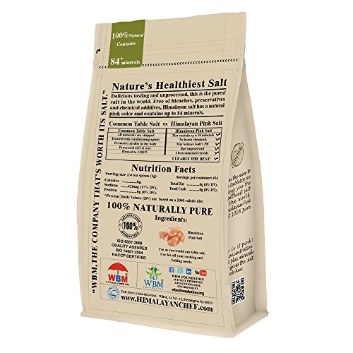 Himalayan Chef 100% Natural Himalayan Pink salt, 1 lbs Coarse Grains. Incredible Taste,Rich in Nutrients and Minerals to improve your Health,Add to your Cart Today