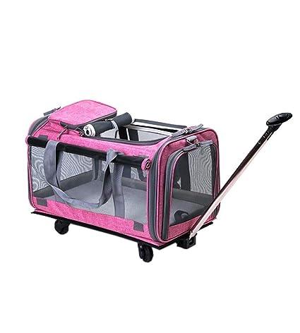 KOSHSH Deluxe Plegable transportín Ruedas, Gato de Perro Ligero cochecitos backbag Transpirable con Estera de