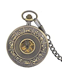 NEW 12 Zodiac Horoscope Mens Mechanical Movement Hand Wind Pocket Watch