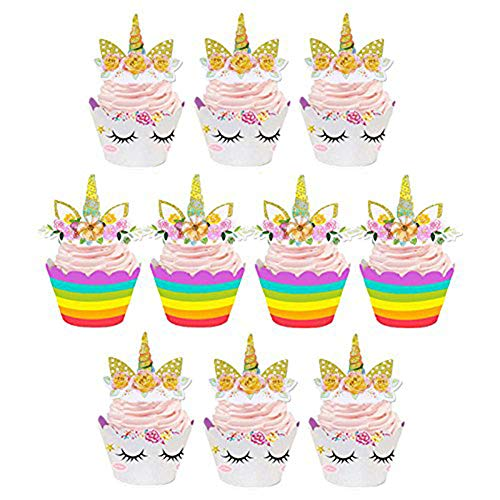 Price comparison product image Unicorn Cupcake Toppers and Wrappers Kids Birthday Party Supplies Unicorn Horn Cake Decoration Set of 24