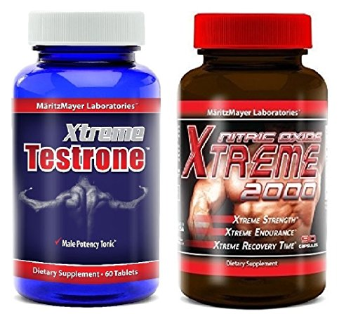 Xtreme Testrone Male Enhancement Testosterone Booster & Xtreme 2000 Nitric Oxide Booster L Arginine Improve Strength Recovery Muscle (Testosterone Nitric Oxide)