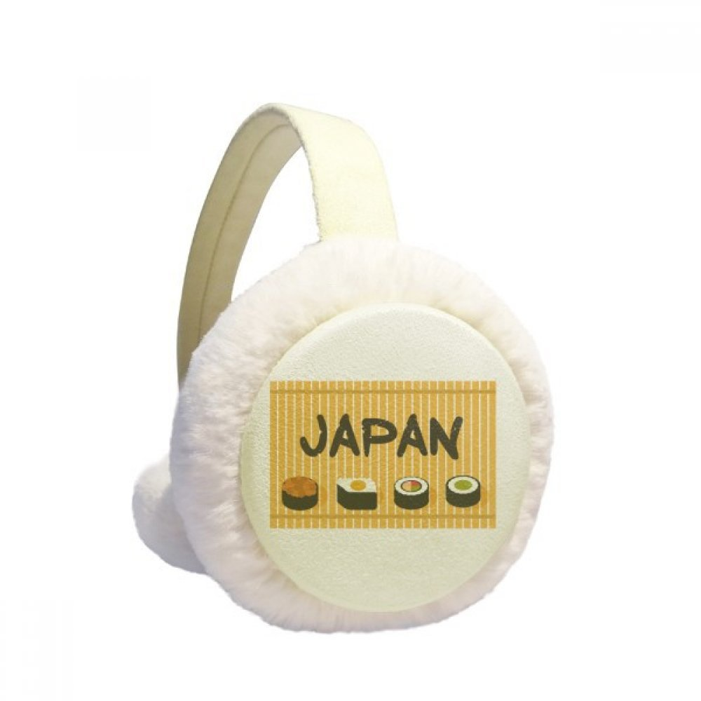 Traditional Japanese Sushi Cruisine Winter Earmuffs Ear Warmers Faux Fur Foldable Plush Outdoor Gift