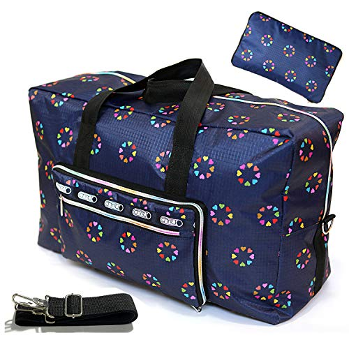 Womens Foldable Travel Duffel Bag 50L Large Cute Floral Travel Bag Hospital Bag Weekender Overnight Carry On Bag Checked Luggage Tote Bag For Girls Kids (blue heart) ()