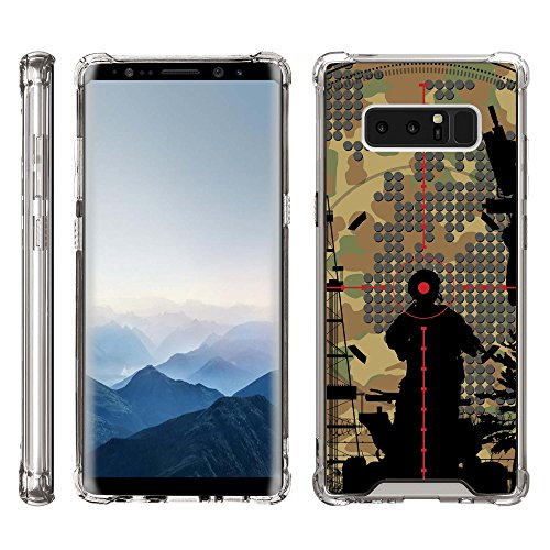 TurtleArmor | Compatible for Samsung Galaxy Note 8 Case | N950 [Flexible Armor] Clear Shock Bumper Fitted Hard Cover TPU Case with Smoke Edges War and Military Design - Bullseye Scope ()