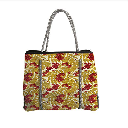 iPrint Neoprene Multipurpose Beach Bag Tote Bags,Rowan,Juicy Ripe Rowan Fruits with Golden Colored Leafage Tasty Foliage in Wilderness Decorative,Gold Red White,Women Casual Handbag Tote Bags
