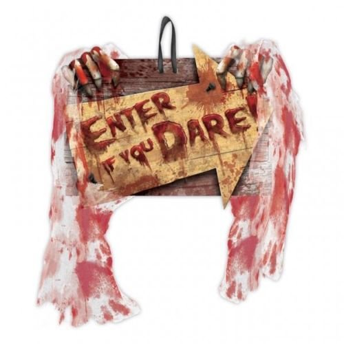 Amscan Creepy Carnival Enter If You Dare MDF Wall Sign with Bloody Gauze