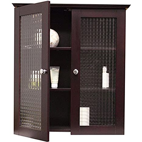 Windham Wall Cabinet With Two Glass Doors Decorative Cabinet Adds Bathroom Storage Space For Toiletries And Towels