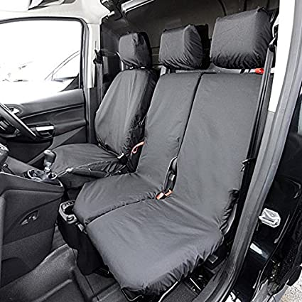 TRANSIT CONNECT Compatible TC PROFESSIONALLY TAILORED front 3 Seater Waterproof Seat Covers in Black .