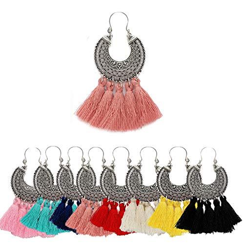 AMCHIC Fan Shape Bohemian Statement Silky Tassel Fashion Earrings for Women Dangling,Thread Fringe with Vintage Ethnic Pattern Metal Drop Pendant Earrings,Ladies' - Fan Shape