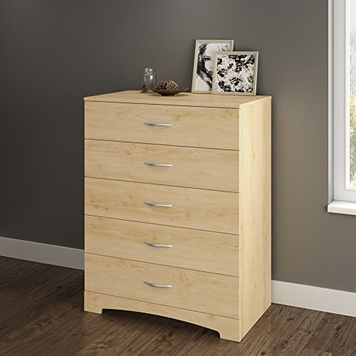 South Shore Step One 5-Drawer Dresser, Natural Maple with Matte Nickel Handles ()