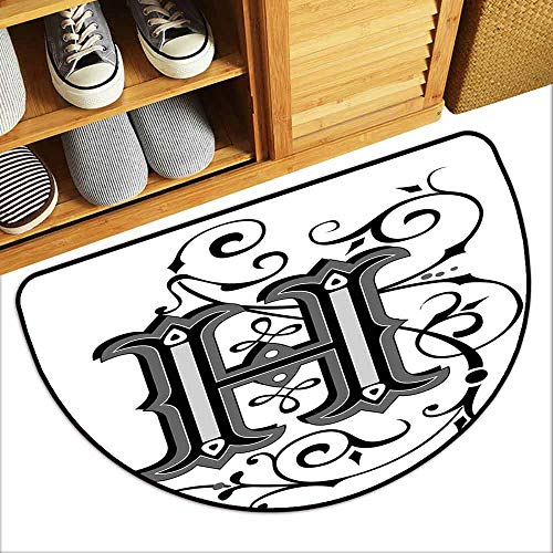 G Idle Sky Letter H Outdoor Door mat Calligraphy Elements in Uppercase Letter H Design from Middle Ages Artwork Quick and Easy to Clean W29 x L17 Black Grey White