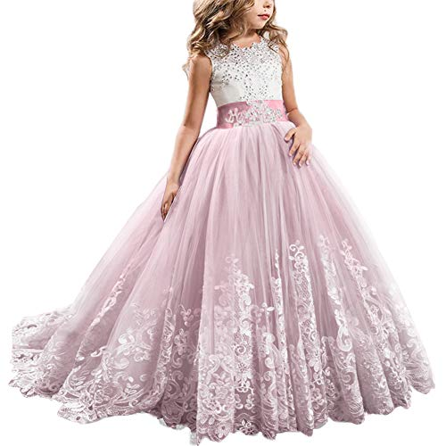 FYMNSI Flowers Girls Applique Tulle Lace Wedding Dress First Communion Birthday Christmas Prom Ball Gown Pale Pink 10-11T]()