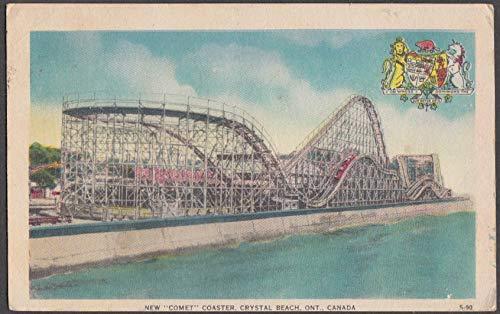 Comet Roller Coaster Crystal Beach Amusement Park ON postcard 1954