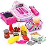 BJLWTQ 46Pcs Childrens Kids Cash Register Pretend Play Supermarket Shop Till Toys with Calculator,Working Scanner,Credit Card,Play Food,Money and More (Color : Pink)