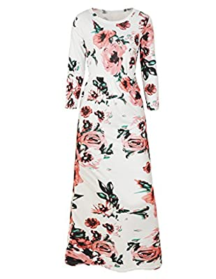 OQC Women's Vintage Floral Print 3/4 Sleeve Summer Beach Party Boho Maxi Dress