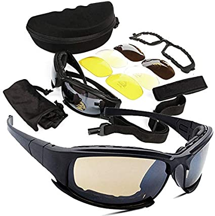 Goggle Motorcycle Goggles for Men Women Sand-proof Outdoor Riding Glasses CS Tactical Protection Goggles Sunglasses Color : Black