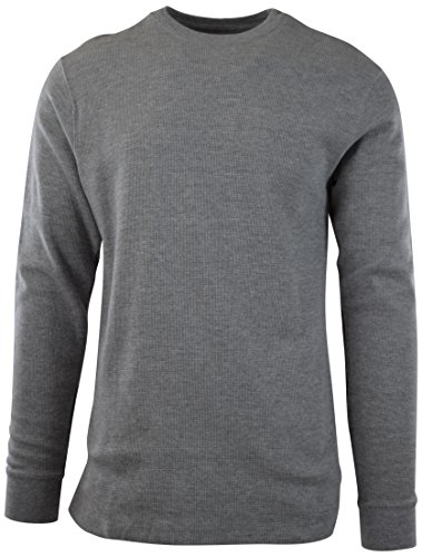 Waffle Crew Shirt - ChoiceApparel Mens Long Sleeve Thermal Waffle Pattern Crew Neck Shirts (M, 1802-GREY)
