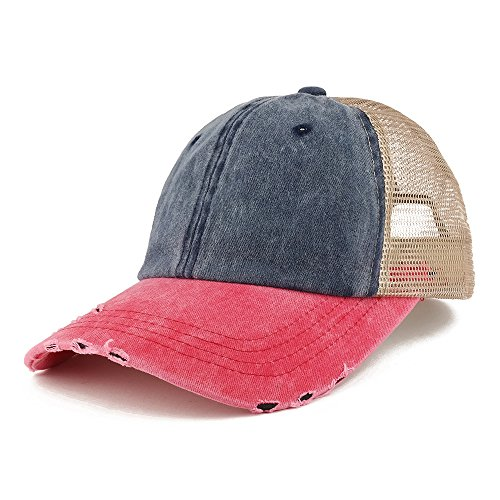 Trendy Apparel Shop Pigment Dyed Front Mesh Back Frayed Bill Trucker Cap - Navy RED ()