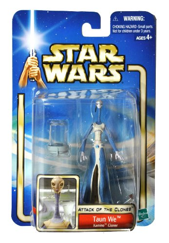 "Hasbro Year 2002 Star Wars ""Attack of the Clones"" Series 4 Inch Tall Action Figure - Kamino Cloner TAUN WE with Clone Chamber"