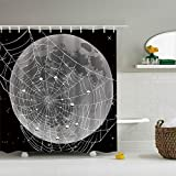 ColorPapa Modern Decorative Shower Curtain The Cartoon Spider Web on Moon Surface Halloween Style Waterproof Polyester Fabric Bath Curtain with 12pcs Hooks Large