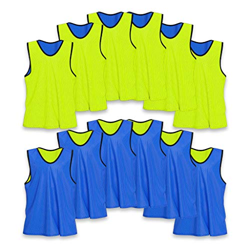 Unlimited Potential Nylon Mesh Scrimmage Team Practice Vests Pinnies Jerseys Bibs for Children Youth Sports Basketball, Soccer, Football, Volleyball (12 Pack, Reversible Yellow/Blue, Youth)