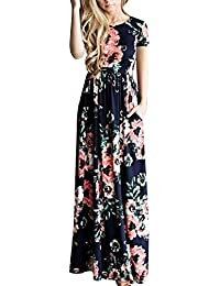 Women's Casual Floral Printed Long Maxi Dress with Pockets(S-5XL)
