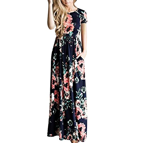 HOOYON Women's Casual Floral Printed Long Maxi Dress with Pockets(S-5XL),Royal Blue Short,Small