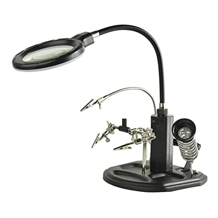 Tercera Mano Con Lupa Y Luz LED, Lentes De Aumentos 2.5X 4X - Lupa
