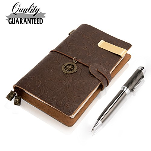 Field Notes Cover Pocket Notebook Genuine Leather With 3 Dotted Notebook Insert + Fashion Pen --5.5