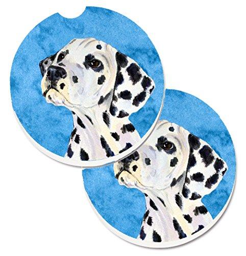 (Caroline's Treasures Blue Dalmatian Set of 2 Cup Holder Car Coasters SS4768-BUCARC, 2.56,)