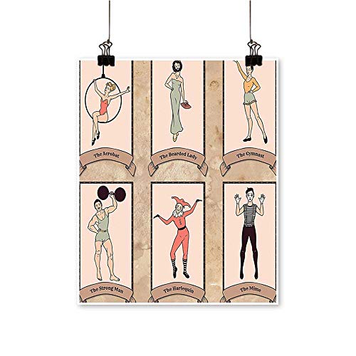 Canvas Prints Artwork Vintage Circus Characters Acrobat Bearded Lady Gymnast Strong Man Harlequin Mime Ligth Pin Artwork Wall,24