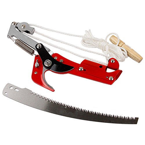 HANZIUP Extendable Tree Pruner Lopper Saw with 3-Sided Grinding Blade, High Branch Scissors
