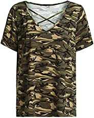 Fashion Casual V-Neck Plus Size Camouflage Hollow Out Tops T-Shirts Women