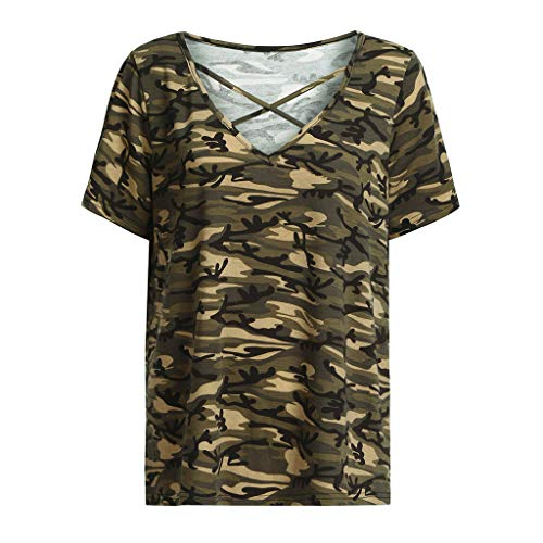 YAliDa 2019 clearance saleFashion Women Casual V-Neck Plus Size Camouflage Hollow Out Tops T-Shirts (XX-Large,Green ) ()