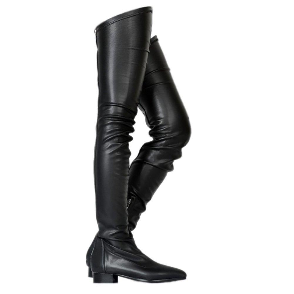 Damen den Kniestiefel,MERUMOTE Niedriger Absatz Schuhe Wasserdicht Stiefel für den Damen Winter Herbst Schwarz 9b43cc