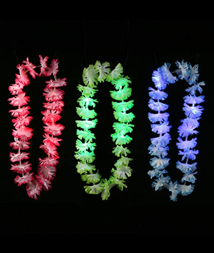 Fun Central I619, 12 Pieces, Assorted LED Silk Flower Leis, Light Up Silk Flower Leis, LED Flower Leis for -