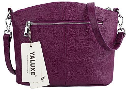 Asa Cuerpo Con Cuero Genuino Cruza Púrpura Bolso De Mujer Bolsa Mano Saco Casual Zipper De Arriba Estilo Negro Triple Yaluxe TOw7vqzx