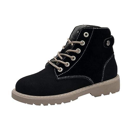 Botines tacón Ancho Altas de Cuña para Mujer Otoño Verano 2018 PAOLIAN Botas Militares con Cordones Casual Zapatos Señora Moda Calzado Cuero Terciopelo y ...