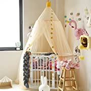 Hoomall Mosquito Net Bed Canopy Round Lace Dome Princess Play Tent Bedding for Baby Kids Children's Room 240cm (Khaki)