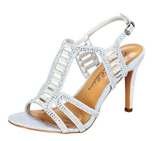 Women's Janice-2 Chic Sparkle Rhinestone Ankle Strap High Heel Career Dress Sandals Silver 6