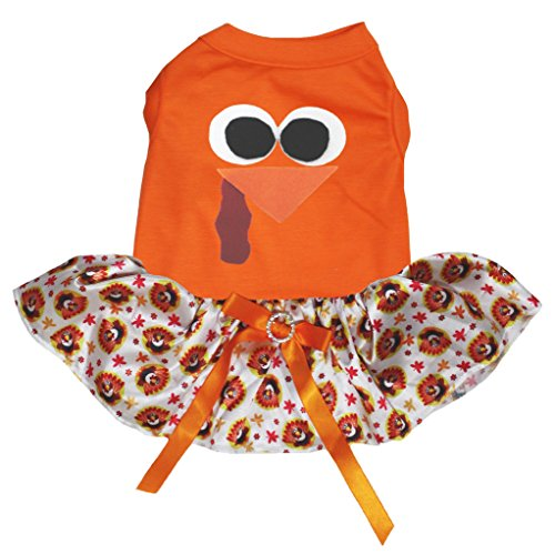 Image of Petitebella Puppy Clothes Dog Dress Turkey Face Orange Top Thanksgiving Tutu (Medium)
